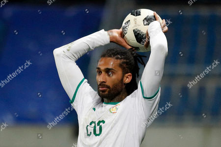 Stock Photo of Senegal's Armand Traore prepares a line out during a friendly soccer match between Senegal and Bosnia and Herzegovina at the Oceane stadium in Le Havre, northern France