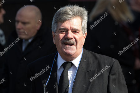 Bob Carolgees leaves Liverpool Cathedral after the service