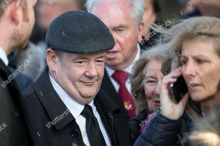 Johnny Vegas leaves Liverpool Cathedral after the service