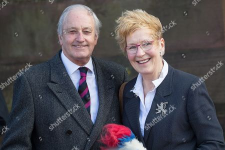 Neil Hamilton and Christine Hamilton leave Liverpool Cathedral after the service