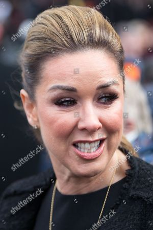 Claire Sweeney leaves Liverpool Cathedral after the service