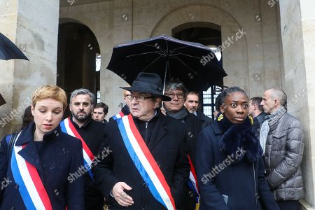 (From L) Members of Parliament of the leftist La France Insousime (LFI) party, Clementine Autain, Alexis Corbiere, party leader Jean-Luc Melenchon, Eric Coquerel and Daniele Obono arrive to attend a national ceremony for Lieutenant-Colonel Arnaud Beltrame, at the Hotel des Invalides in Paris, France, 28 March 2018. France honours during a national ceremony on March 28 a heroic policeman who died offering himself as a hostage in a jihadist attack. Beltrame, 44, was the fourth and final victim in the shooting spree on March 23 in the southwestern towns of Carcassonne and nearby Trebes.
