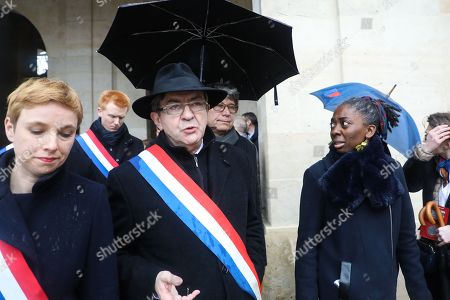 (From L) Members of Parliament of the leftist La France Insousime (LFI) party, Clementine Autain, Adrien Quatennens, party leader Jean-Luc Melenchon, Eric Coquerel and Daniele Obono arrive to attend a national ceremony for Lieutenant-Colonel Arnaud Beltrame, at the Hotel des Invalides in Paris, France, 28 March 2018. France honours during a national ceremony on March 28 a heroic policeman who died offering himself as a hostage in a jihadist attack. Beltrame, 44, was the fourth and final victim in the shooting spree on March 23 in the southwestern towns of Carcassonne and nearby Trebes.