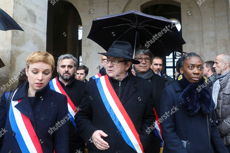 French far left leaders, from the left, Clementine Autain, Alexis Corbiere, party leader Jean-Luc Melenchon, Eric Coquerel and Daniele Obono arrive at a national ceremony for Beltrame, at the Hotel des Invalides in Paris. The slain hero of last week's extremist attack in southern France will be posthumously awarded the Legion of Honor by French President Emmanuel Macron during a solemn day-long national homage to him