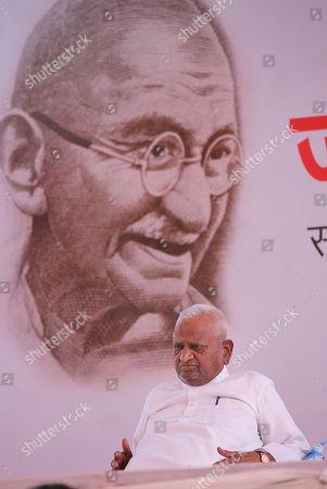 Editorial photo of Indian veteran social activist Anna Hazare in on Indefinite hunger strike in New Delhi, India - 28 Mar 2018