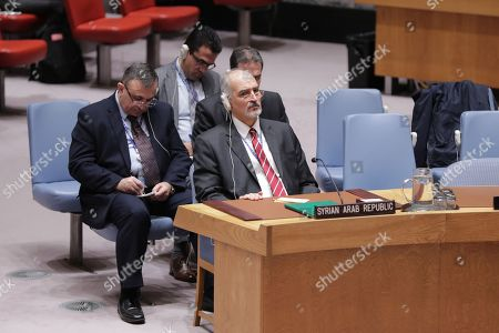 Bashar Jaafari, Permanent Representative of the Syrian Arab Republic to the United Nations During a Security Council meeting on the situation in the Middle East and Syria