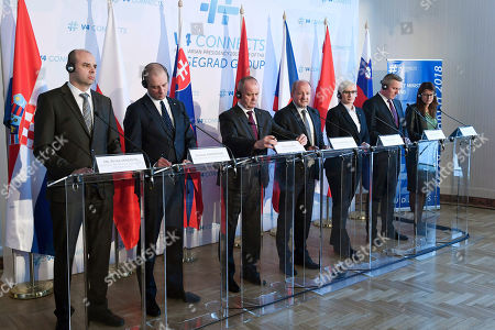 (L-R) Croatian Deputy Minister of Defence Petar Mihatov, Polish Deputy Minister of National Defence Tomasz Szatkowski, Peter Gajdos Slovakian, Istvan Simicsko Hungarian, Karla Slechtova Czech, Mario Kunasek Austrian and Andreja Katic Slovenian Defence Minister hold a press conference during the joint defence ministerial meeting of the Visegrad Group (V4) and the Central European Defence Cooperation (CEDC) in the Stefania Palace in Budapest, Hungary, 28 March 2018.