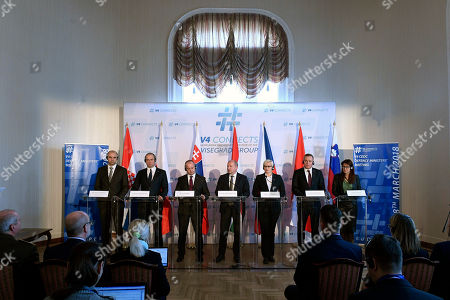 Editorial image of Visegrad Group (V4) and the Central European Defence Cooperation (CEDC) meeting, Budapest, Hungary - 28 Mar 2018