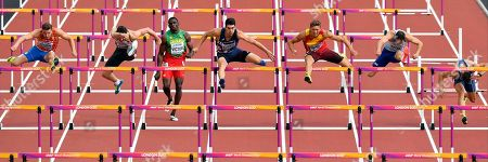 From left, Netherlands' Pieter Braun, Germany's Kai Kazmirek, Grenada's Lindon Victor, France's Bastien Auzeil, Spain's Pau Tonnesen, Britain's Ashley Bryant and Serbia's Mihail Dudas compete a 110m hurdles race during the Decathlon at the World Athletics Championships in London