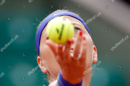 Petra Kvitova of the Czech Republic serves the ball to Julia Boserup, of the U.S, during their first round match of the French Open tennis tournament at the Roland Garros stadium, in Paris