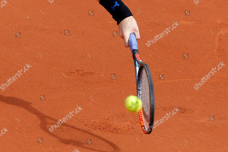 Britain's Andy Murray plays a shot against Russia's Andrey Kuznetsov during their first round match of the French Open tennis tournament at the Roland Garros stadium, in Paris, France
