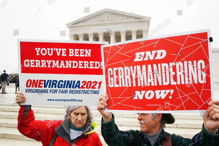 Sara Fitzgerald, Michael Martin. Sara Fitzgerald, left, and Michael Martin, both with the group One Virginia, protest gerrymandering in front of the Supreme Court, in Washington where the court will hear arguments on a gerrymandering case. The Supreme Court is taking up its second big partisan redistricting case of the term amid signs the justices could place limits on drawing maps for political gain
