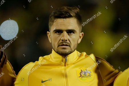 Australia's Josh Risdon during the national anthems before a friendly soccer match between Colombia and Australia in London