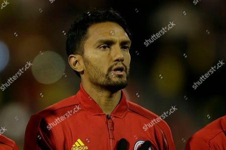 Colombia's Abel Aguilar during the national anthems before a friendly soccer match between Colombia and Australia in London
