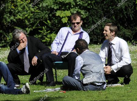 Jim McDonald, played by Charles Lawson, Steve, played by Simon Gregson, Andy McDonald, played by Nick Cochrane and  Lloyd played by Craig Charles.