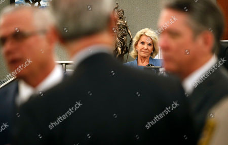 Elaine Wynn, ex-wife of Steve Wynn, attends a hearing, in Las Vegas. Elaine Wynn has accused her ex-husband and others of getting her off the company's board of directors in 2015 because of her inquiries into company activities. She has claimed that she was not re-nominated to be a board member that year as a result of retaliation