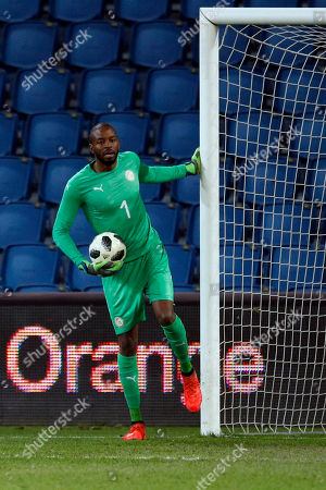 Senegal's goal keeper Abdoulaye Diallo catches the ball during a friendly soccer match between Senegal and Bosnia and Herzegovina at the Oceane stadium in Le Havre, northern France