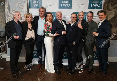Emma Thompson, Florence Pugh, Director Richard Eyre, Andrew Scott, Jim Carter, Tobias Menzies, Anthony Calf, Karl Johnson, Sir Colin Callender. Emma Thompson, Florence Pugh, Director Richard Eyre, Andrew Scott, Sir Colin Callender, Jim Carter, Tobias Menzies, Anthony Calf, Karl Johnson at a screening of King Lear at the Soho Hotel in central London