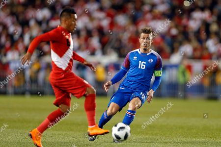 Iceland midfielder Olafur Skulason in action against Peru during the first half of an international friendly soccer match, in Harrison, N.J