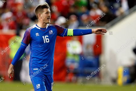 Stock Image of Iceland midfielder Olafur Skulason in action against Peru during the first half of an international friendly soccer match, in Harrison, N.J