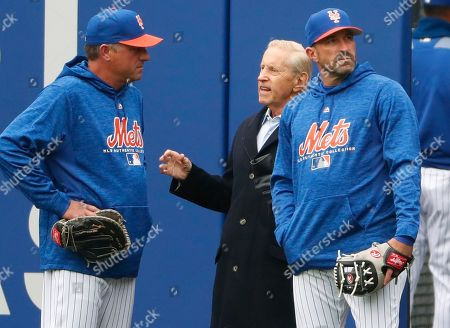 Gary Disarcina, Fred Wilpon, Mickey Callaway. New York Mets majority owner and CEO Fred Wilpon, center, talks to New York Mets bench coach Gary Disarcina, left, and Mets manager Mickey Callaway in the outfield during a team workout at CitField, in New York. The team's opening day is Thursday