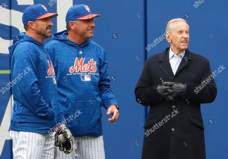 Mickey Callaway, Gary Disarcina, Fred Wilpon. New York Mets manager Mickey Callaway, left, and Mets bench coach Gary Disarcina, center, talk to Mets majority owner and CEO Fred Wilpon in the outfield during the team's workout at CitField, in New York. The Mets face the St. Louis Cardinals at home Thursday