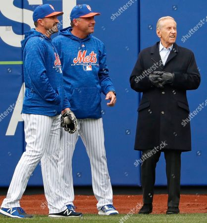 Mickey Callaway, Gary Disarcina, Fred Wilpon. New York Mets manager Mickey Callaway, left, and Mets bench coach Gary Disarcina, center, talk to Mets majority owner and CEO Fred Wilpon in the outfield during the team's pre-opening day workout at CitField, in New York. The Mets face the St. Louis Cardinals at home Thursday