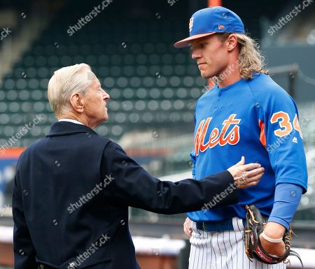 Fred Wilpon, Noah Syndergaard. New York Mets majority owner and CEO Fred Wilpon, left, greets New York Mets starting pitcher Noah Syndergaard during a team workout at CitField, in New York. The team's opening day is Thursday against the St. Louis Cardinals