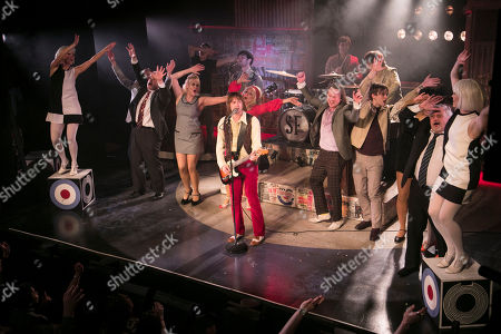 Samuel Pope (Young Steve Marriott), Carol Harrison (Author/Kay Marriott), Chris Simmons (Steve Marriott) and members of the cast during the curtain call