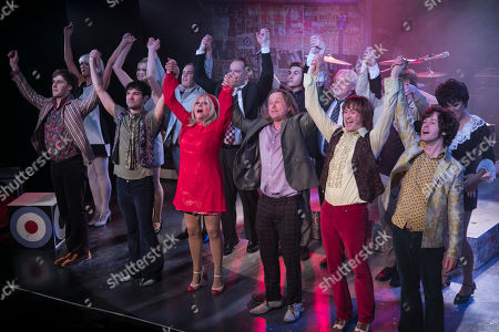 Stefan Edwards (Kenney Jones), Stanton Wright (Ronnie Lane), Carol Harrison (Author/Kay Marriott), Chris Simmons (Steve Marriott), Samuel Pope (Young Steve Marriott), Joseph Peters (Jimmy Winston) and members of the cast during the curtain call