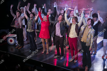 Stock Photo of Stefan Edwards (Kenney Jones), Stanton Wright (Ronnie Lane), Carol Harrison (Author/Kay Marriott), Chris Simmons (Steve Marriott), Samuel Pope (Young Steve Marriott), Joseph Peters (Jimmy Winston) and members of the cast during the curtain call