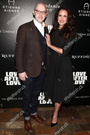 "Russell Harbaugh, Andie MacDowell. Russell Harbaugh, left, and Andie MacDowell, right, attend a special screening of ""Love After Love"" at the Roxy Cinema Tribeca, in New York"