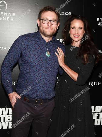 """James Adomian, Andie MacDowell. James Adomian, left, and Andie MacDowell, right, attend a special screening of """"Love After Love"""" at the Roxy Cinema Tribeca, in New York"""