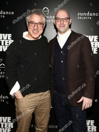 "Stock Image of Eric Mendelsohn, Russell Harbaugh. Eric Mendelsohn, left, and Russell Harbaugh, right, attend a special screening of ""Love After Love"" at the Roxy Cinema Tribeca, in New York"