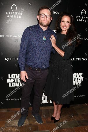 """Stock Picture of James Adomian, Andie MacDowell. James Adomian, left, and Andie MacDowell attend a special screening of """"Love After Love"""" at Roxy Cinema Tribeca, in New York"""