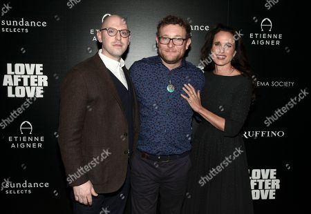 "Russell Harbaugh, James Adomian, Andie MacDowell. Russell Harbaugh, James Adomian and Andie MacDowell, from left, attend a special screening of ""Love After Love"" at Roxy Cinema Tribeca, in New York"