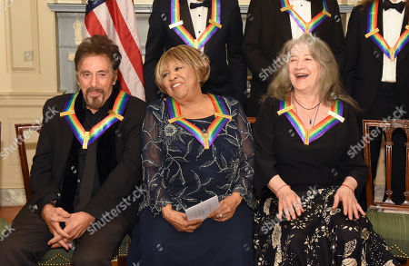 Al Pacino, Mavis Staples, Martha Argerich. Kennedy Center Honorees, from left, Al Pacino, Mavis Staples and Martha Argerich wait for the group portrait following the State Department for the Kennedy Center Honors gala dinner, in Washington