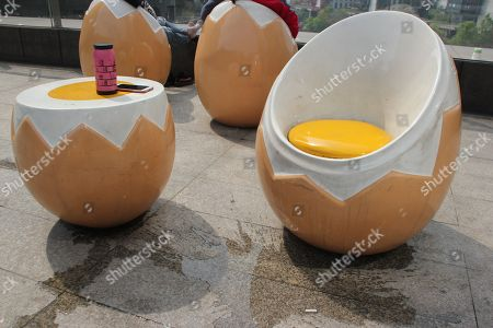 Stock Photo Of Egg Shaped Chairs Can Be Seen At A Square ...