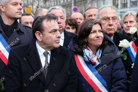 Laurent Wauquiez, Joel Mergui, Gerard Larcher, Anne Hidalgo and Pierre Aidenbaum during a march organized by the CRIF in memory of Mireille Knoll, an 85 year old Jewish woman murdered in her home in what police believe was an anti-Semitic attack