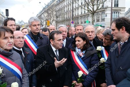 Guillaume Peltier, Eric Ciottti, Laurent Wauquiez, Joel Mergui, Gerard Larcher, Anne Hidalgo, Pierre Aidenbaum and David Assouline during a march organized by the CRIF in memory of Mireille Knoll, an 85 year old Jewish woman murdered in her home in what police believe was an anti-Semitic attack
