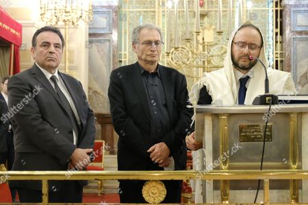 President of the Israelite Central Consistory of France Joel Mergui, Daniel Knoll son of Mireille Knoll, Rabbi Olivier Kauffman. Synagogue des Tournelles in Paris during a service in memory of Mireille Knoll, the 85-year-old Jewish woman murdered in her home in what police believe was an anti-Semitic attack