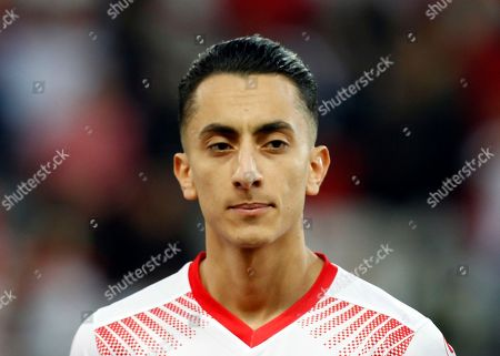 Tunisia's Saif-Eddine Khaoui stands prior to the start of a friendly soccer match between Tunisia and Costa Rica at the Allianz Riviera in Nice, southern France