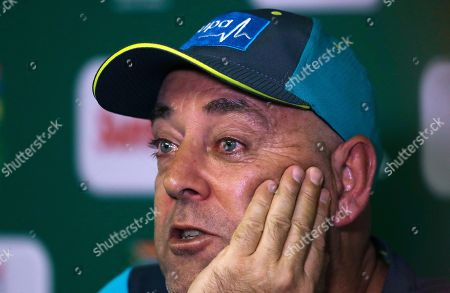 Australia's coach Darren Lehmann speaks, during a media conference in Johannesburg, South Africa, . Lehmann says he will quit after the final test against South Africa, citing the emotional stress of the ball-tampering scandal in South Africa