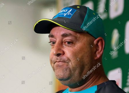 Australia's coach Darren Lehmann pauses during a media conference in Johannesburg, South Africa, ahead of their fourth cricket test match against Australia