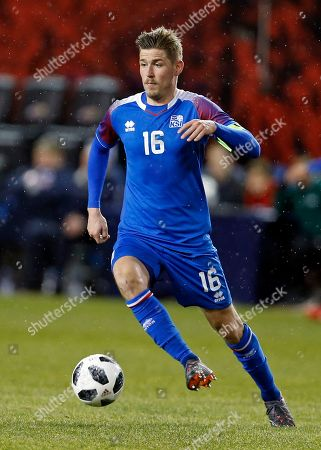 Stock Picture of Iceland midfielder Olafur Skulason in action against Peru during the second half of an international friendly soccer match, in Harrison, N.J. Peru won 3-1