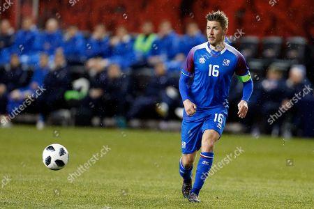 Iceland midfielder Olafur Skulason in action against Peru during the second half of an international friendly soccer match, in Harrison, N.J. Peru won 3-1