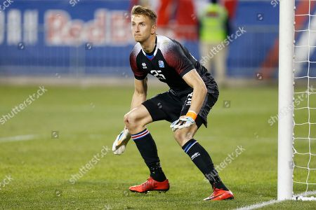 Iceland goalkeeper Frederik Schram in action against Peru during the second half of an international friendly soccer match, in Harrison, N.J. Peru won 3-1