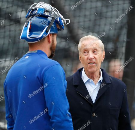 Kevin Plawecki, Ffred Wilpon. New York Mets majority owner Fred Wilpon, right, talks to New York Mets catcher Kevin Plawecki during a workout at CitField, in New York. The team's opening day is Thursday