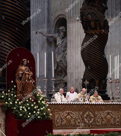 Holy Chrism Mass celebrated by Pope Francis. Cardinal Tarcisio Bertone, Cardinal Walter Kasper
