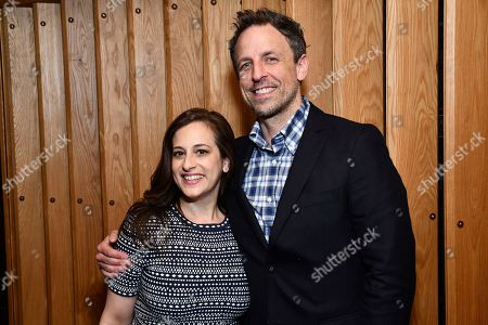 """Seth Meyers, Jennifer Caserta. Jennifer Caserta, President, IFC and Seth Meyers from the IFC show """"Documentary Now!"""" attend the IFC Upfront luncheon, in New York"""